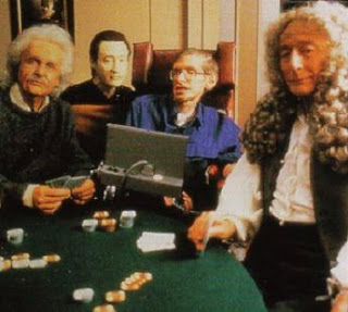 L to R, Albert Einstein, Data, Stephen Hawking, Isaac Newton... go figure.