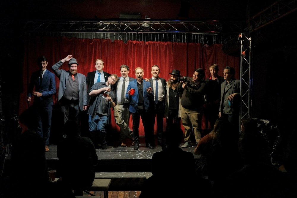 (L to R) Mark Correia, James Harrison, James Alan, Glenn West, Jonah Babins, Ben Train, Keith Brown, Edward Gabreal, Chris Mayhew, Ryan Brown, Leigh Beadon