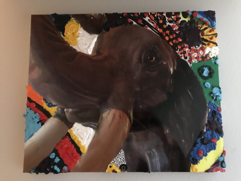 TOPHER STRAUS ART ELEPHANT WITH ACRYLIC