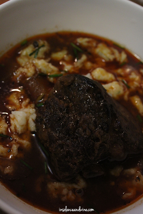 wine braised short ribs with spaetzl insolence + wine