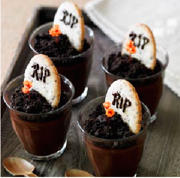 Dark Chocolate Pots de Creme with Graveyard Cookies via  MyRecipes