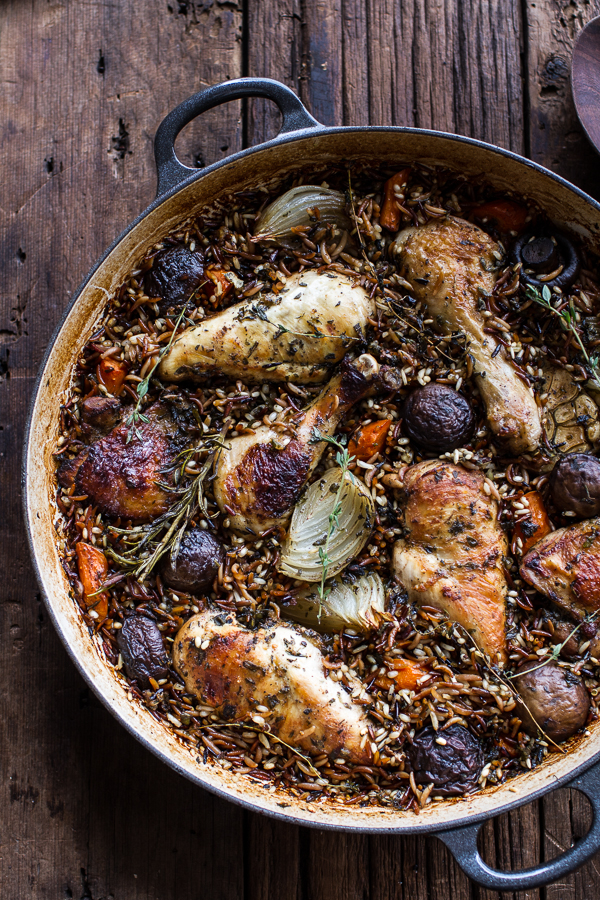 One-Pot Autumn Herb Roasted Chicken with Butter Toasted Wild Rice via Half Baked Harvest.