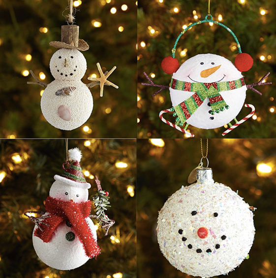 Ornaments from Pier 1: Sandy Snowman, Glitter Round Snowman Ornament, Glitter Snowman with Tree Ornament, European Glass Snowball Ornament