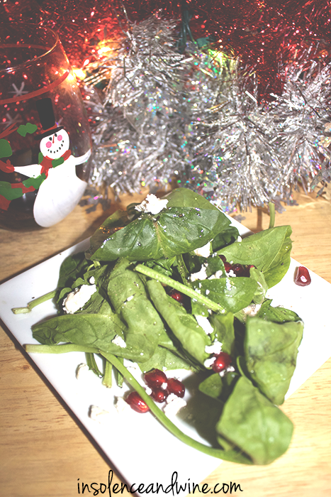 pomegranate spinach salad insolence + wine