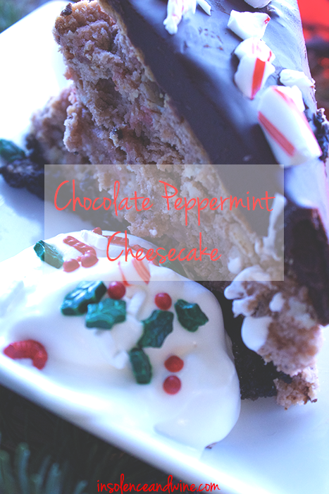 chocolate peppermint cheesecake insolence + wine