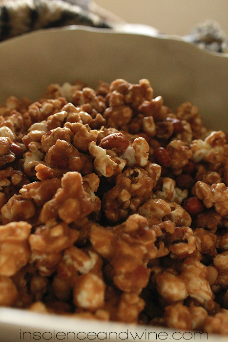 caramel crackerjack popcorn insolence + wine