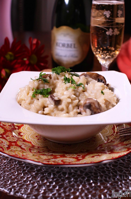 Cooking with champagne sounds awesome, however be sure that you're using a sparkling wine made from Chardonnay grapes not Pinot Noir! Champagne Risotto recipe via Zag Left