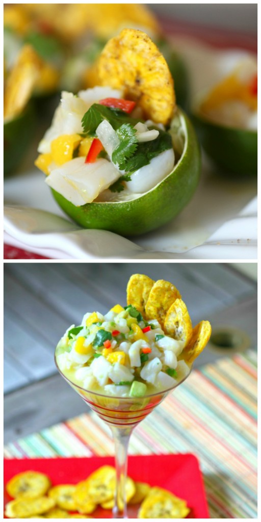 The fun part with this ceviche recipe is the tropical flavors used along with the delicately cooked scallops. Scallop Ceviche with Baked Plantain Chips via Food Done Light