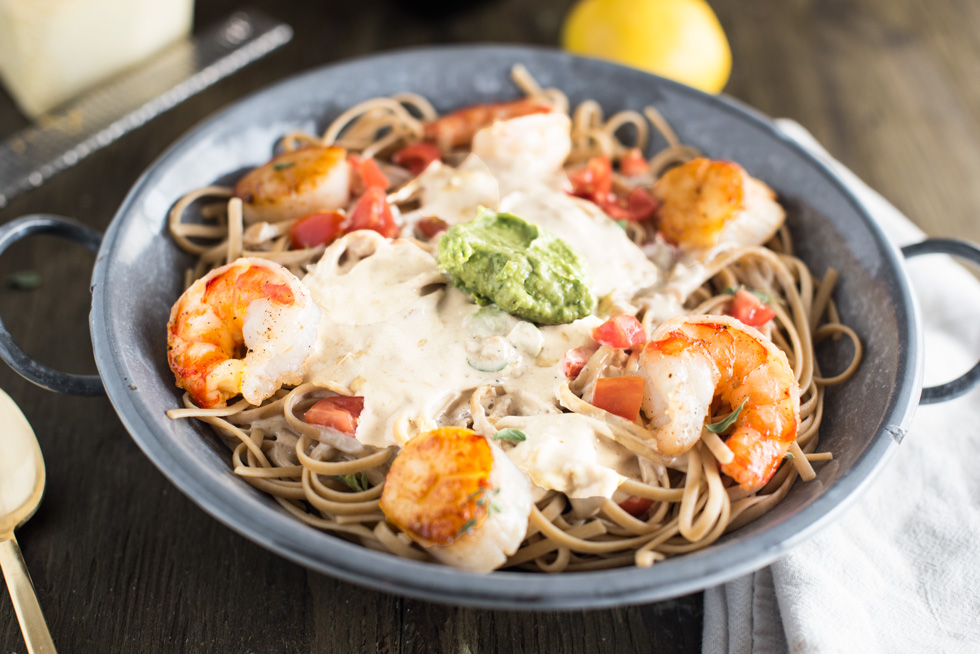 Prawn and Scallop Creamy Pasta via Brazilian Flair In The USA