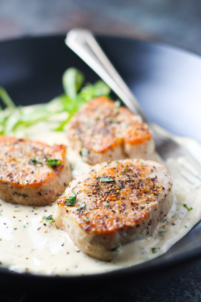Pork Medallions with Tarragon Cream Sauce via Platings and Pairings