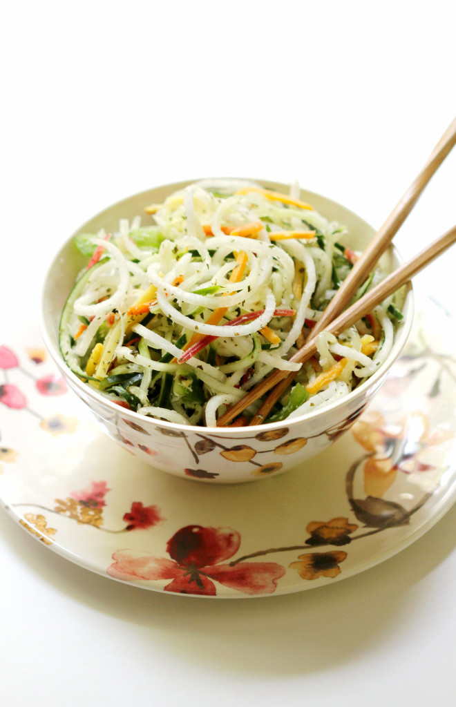 If you're looking for a lighter dish, this Raw Spiralized Thai Salad via Strength & Sunshine is perfect!