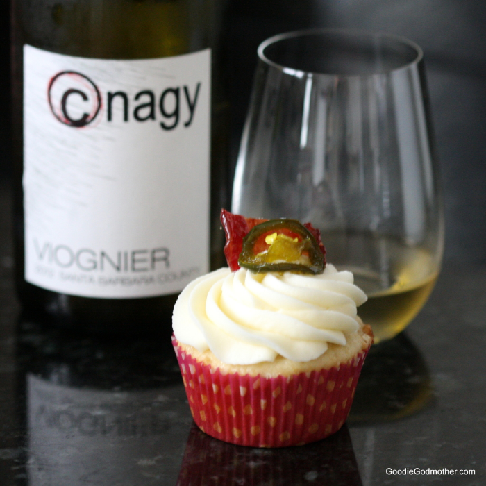 These candied jalapeño bacon Viognier cupcake take the guesswork out of pairing. Recipe via Goodie Godmother