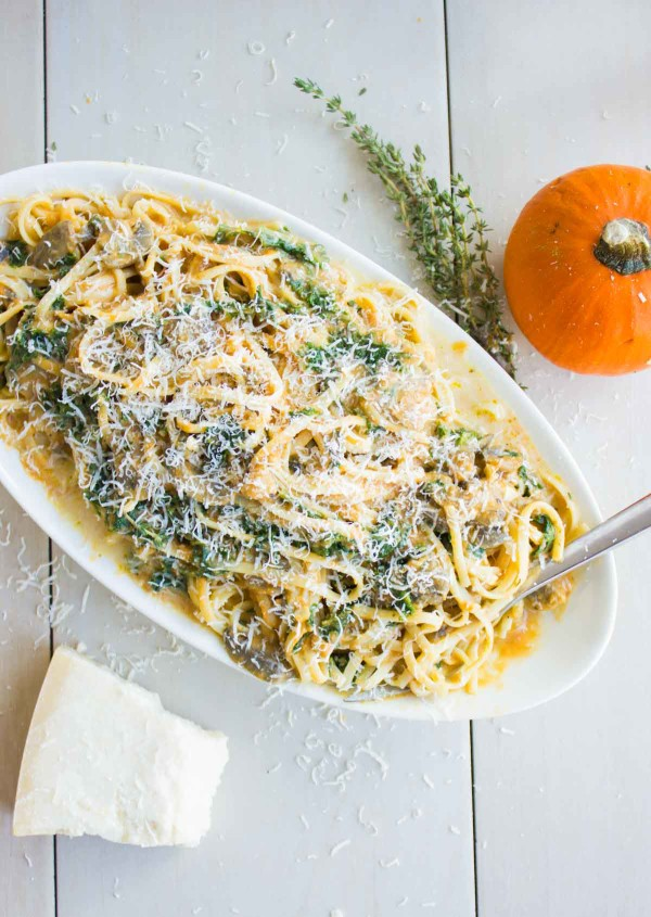 Kale Mushroom Pumpkin Alfredo Pasta