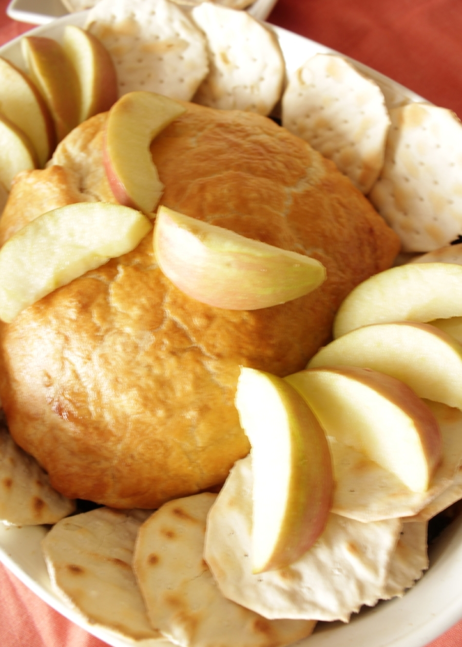 apple compote baked brie insolence + wine