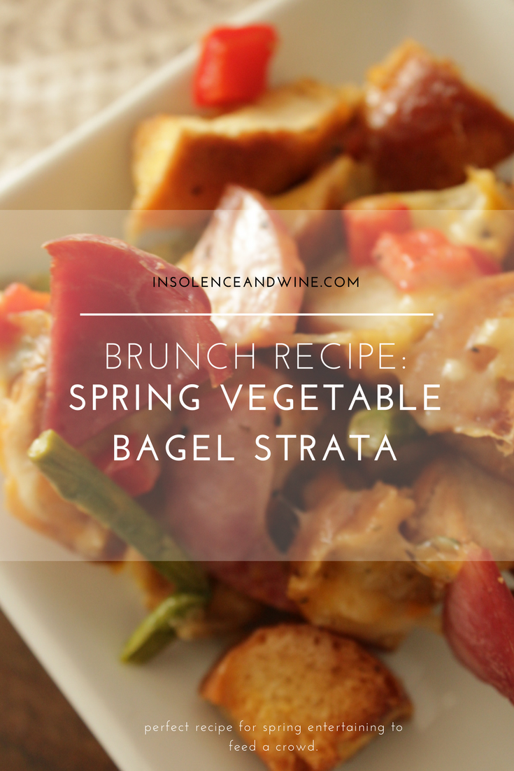 Brunch Recipe: Spring Vegetable Bagel Strata  insolence + wine