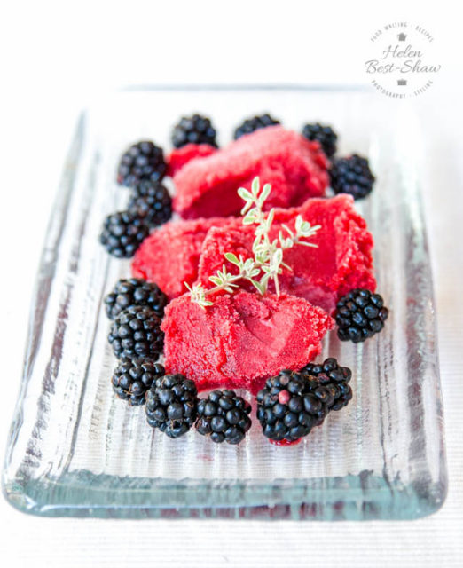 Easy Blackberry Sorbet with Apple and Thyme from Fuss Free Flavors