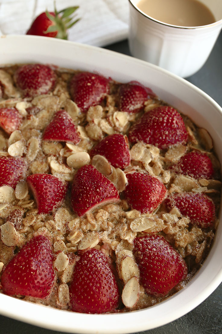 Feed a lot of people with this baked strawberry oatmeal made with almond milk.