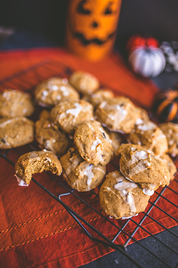 Chocolate chip pumpkin spice cookies are soft and chewy, something adults are sure to love. | insolenceandwine.com