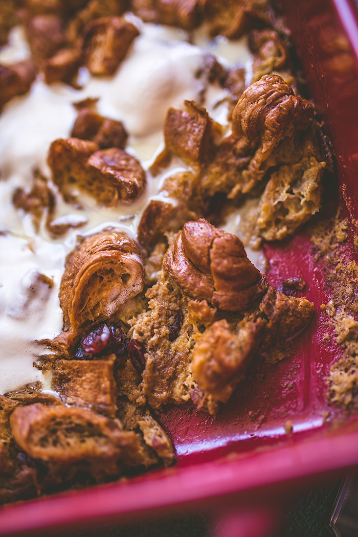 Use any leftover pumpkin pie filling to make this delicious pumpkin pie bread pudding. | insolenceandwine.com