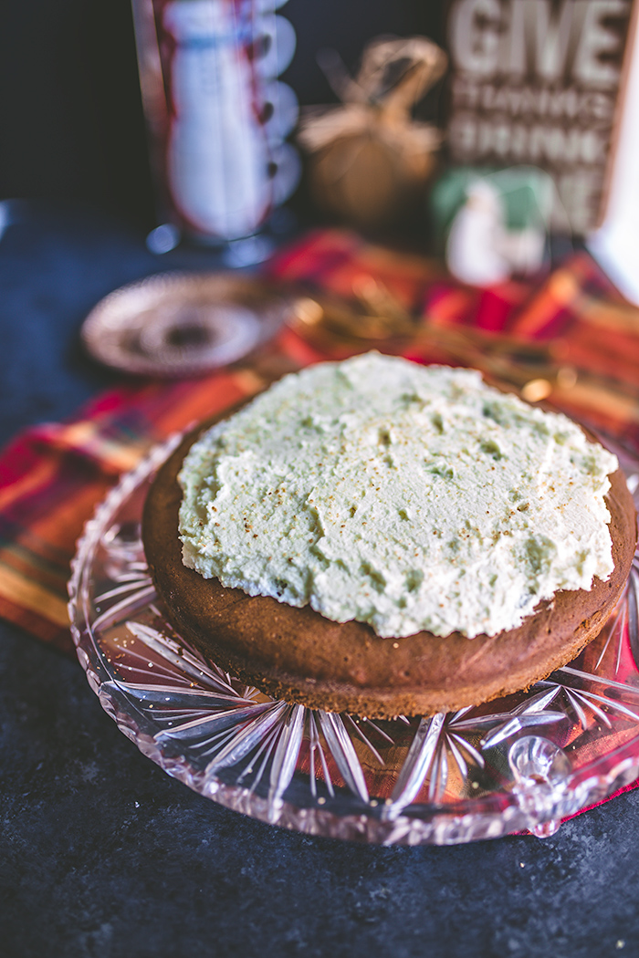 Delicious and festive gingerbread cake with a lemon curd whipped cream topping makes a great Thanksgiving finale. | insolenceandwine