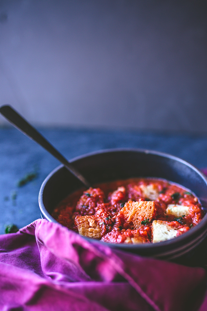 Plain tomato soup is given one simple, but delicious twist: toasted croutons. For a runnier soup, add more broth.