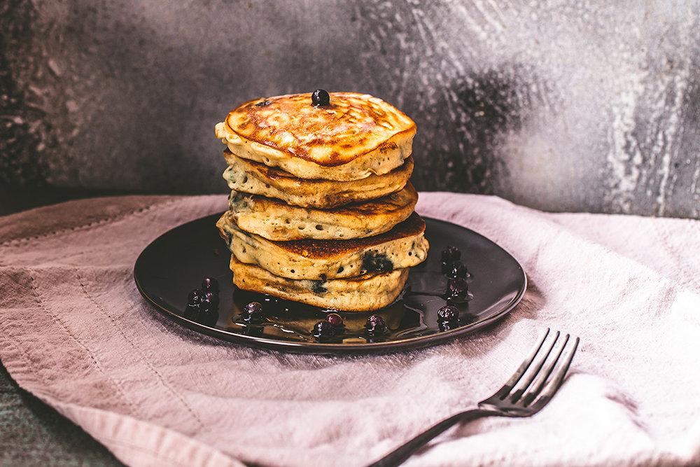 No fuss blueberry pancakes make the best weekend breakfast.