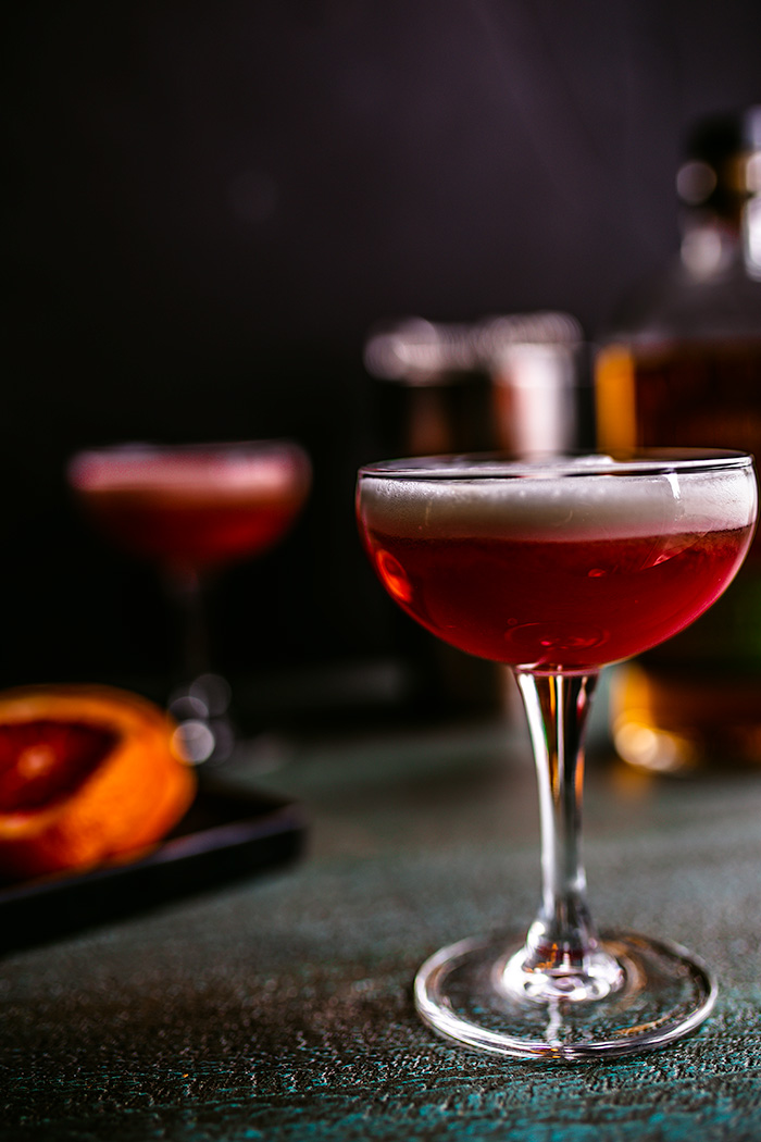 Whiskey Sour has been given a delicious twist with in-season blood oranges.