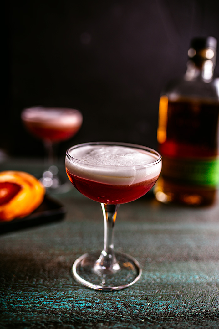 The tried and tested whiskey sour,  has been given a delicious twist with in-season blood oranges.