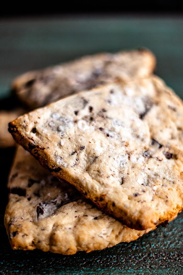 Sea salt chocolate chunk scones are the perfect midday boost or Sunday brunch. | insolenceandwine.com #scones