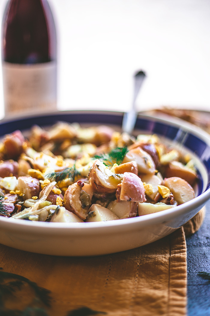 Serve this German-style potato salad as a side dish for Easter Sunday alongside Ham or Herb Roasted Rack of Lamb.