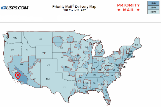 This map shows transit times for USPS Priority Mail and First Class Shipping Service average 1-3 business days from our location to your destination. Transit times do not include weekends or postal holidays.