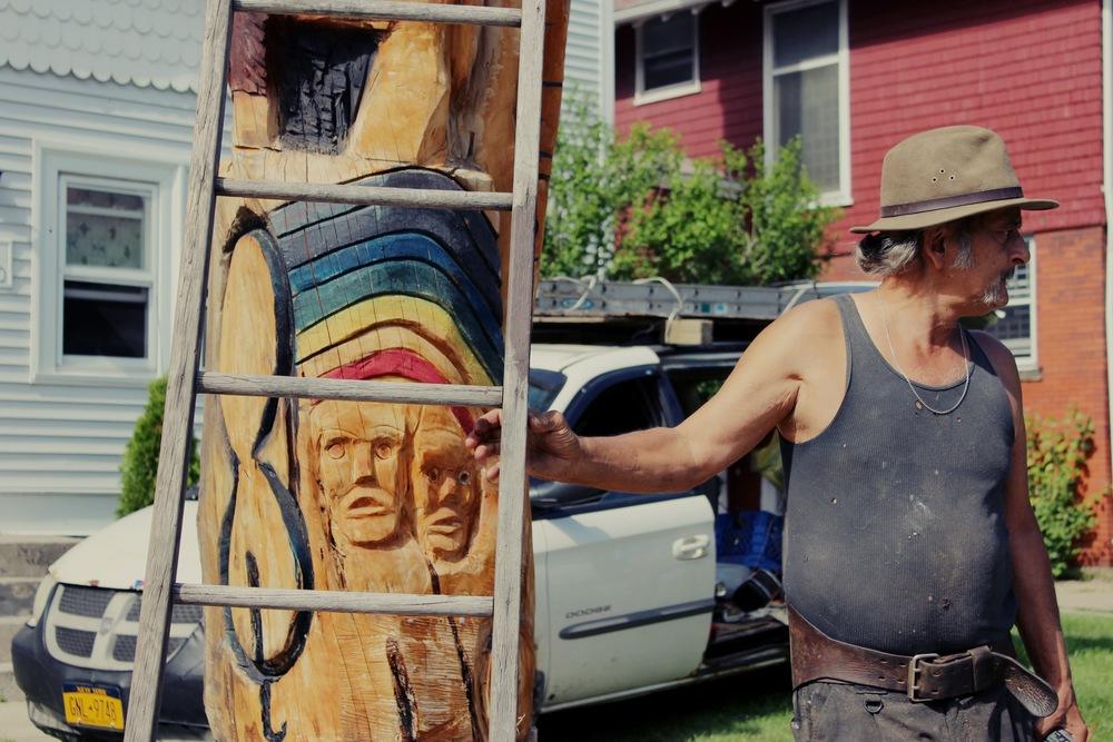 Cousin Kelly, Totem Pole Artist, Buffalo, New York