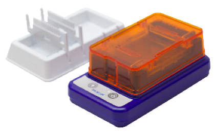 blueGel™ electrophoresis with built-in illuminator –  Safe for classrooms. No Ethidium Bromide, UV, or high voltage. Uses up to 10x less reagents.