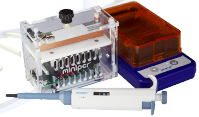 DNA Discovery System – $950 – Contains miniPCR thermal cycler, blueGel electrophoresis / illuminator, and Micropipette (2-20).