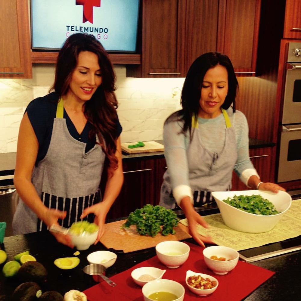 Shooting a cooking segment at NBC, Telemundo.
