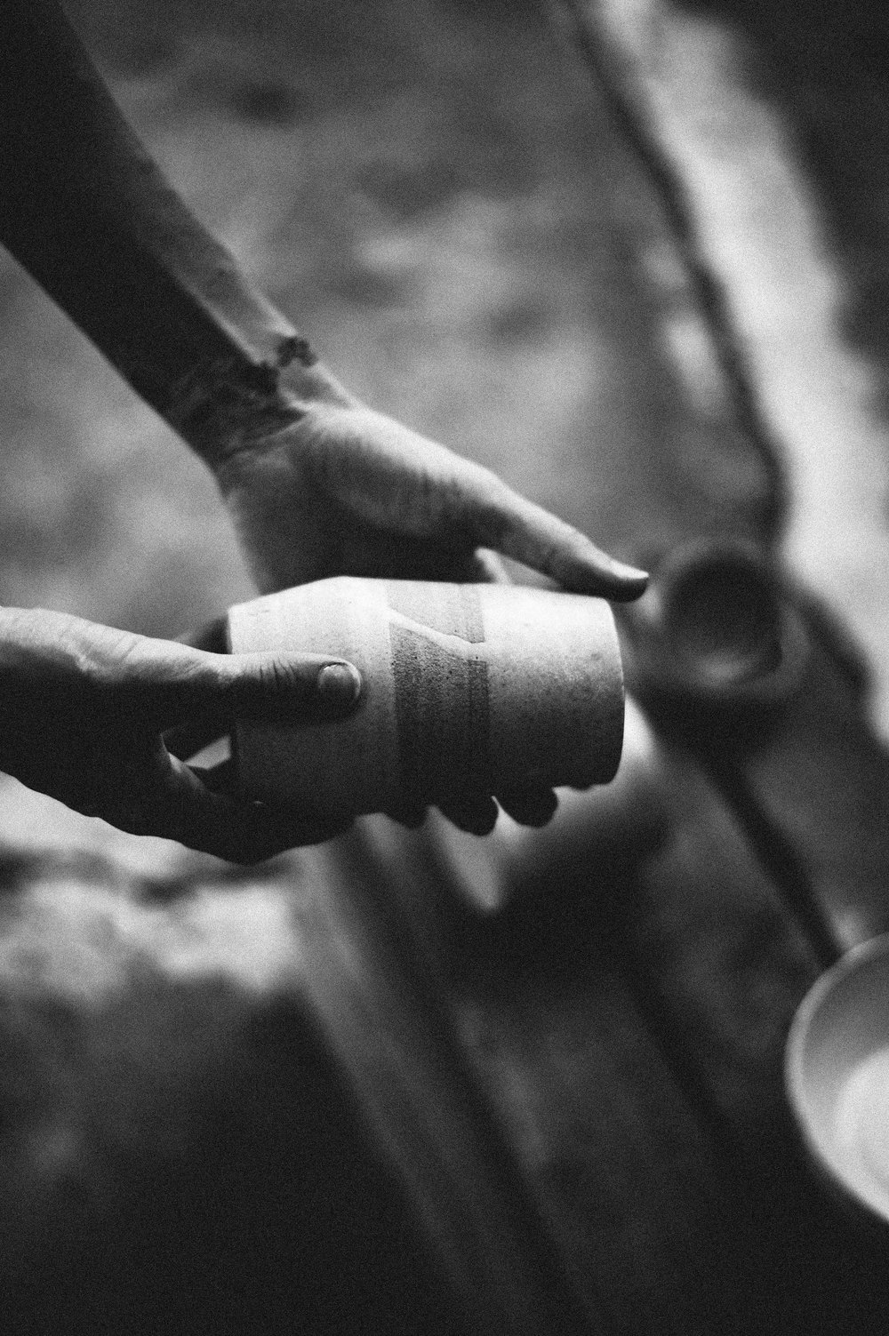 P R O C E S S   - working with clay is like therapy. when we sit at the wheel to throw, we turn inward and become very focused on the piece at hand. its a sort of forced mindfullness I welcome in my everyday life. the creation process is extremely involved and equally as rewarding. I start with high-fire clay, stoneware and porcelain, then marble them together just a bit to give pieces a spiral touch. the clay is then