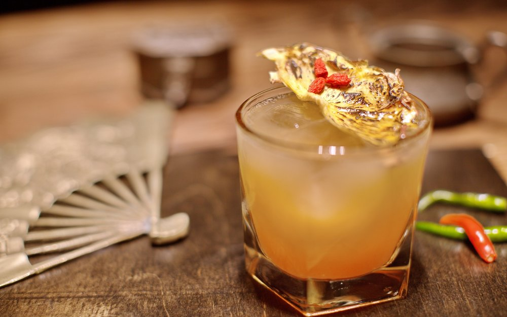The Benji - Thai Chili Infused Xicaru Mezcal, Aperol, Goji Berry Syrup, Pineapple JuiceWe love our one year old Maltipoo.   If we could put his fiery, spunky personality into a cocktail form, this would be it.  Follow him on Instagram at @leongbenji.