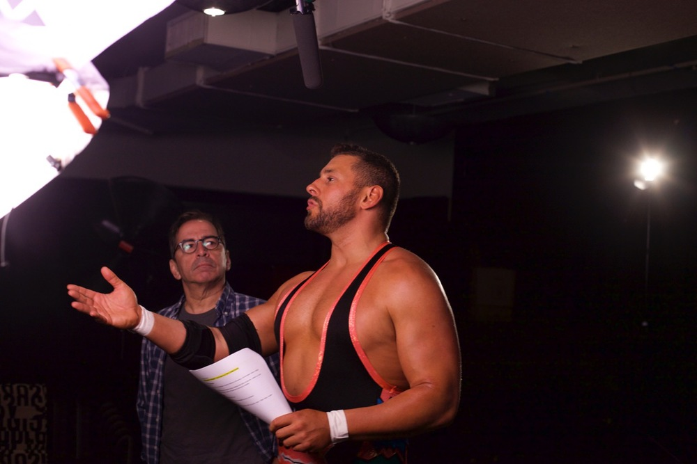 Bob Admires Colt Cabana at Shoot for WCF Promo, June2015.jpeg