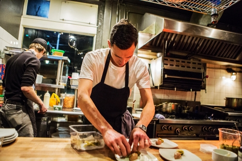 Chef Dallas Dziedzic has spent many hours researching and experimenting to perfect umami-rich flavors for the menu at Brimmer & Heeltap.