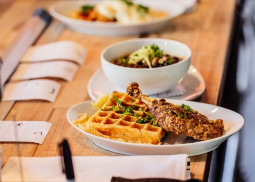 Our fried duck leg and Belgian waffle awaiting a hungry diner.