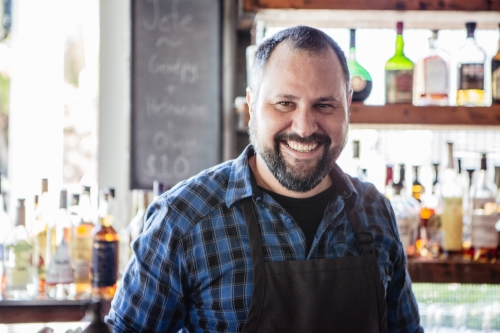 Floyd spends hours each week perfecting our Bloody Mary recipe for brunch.