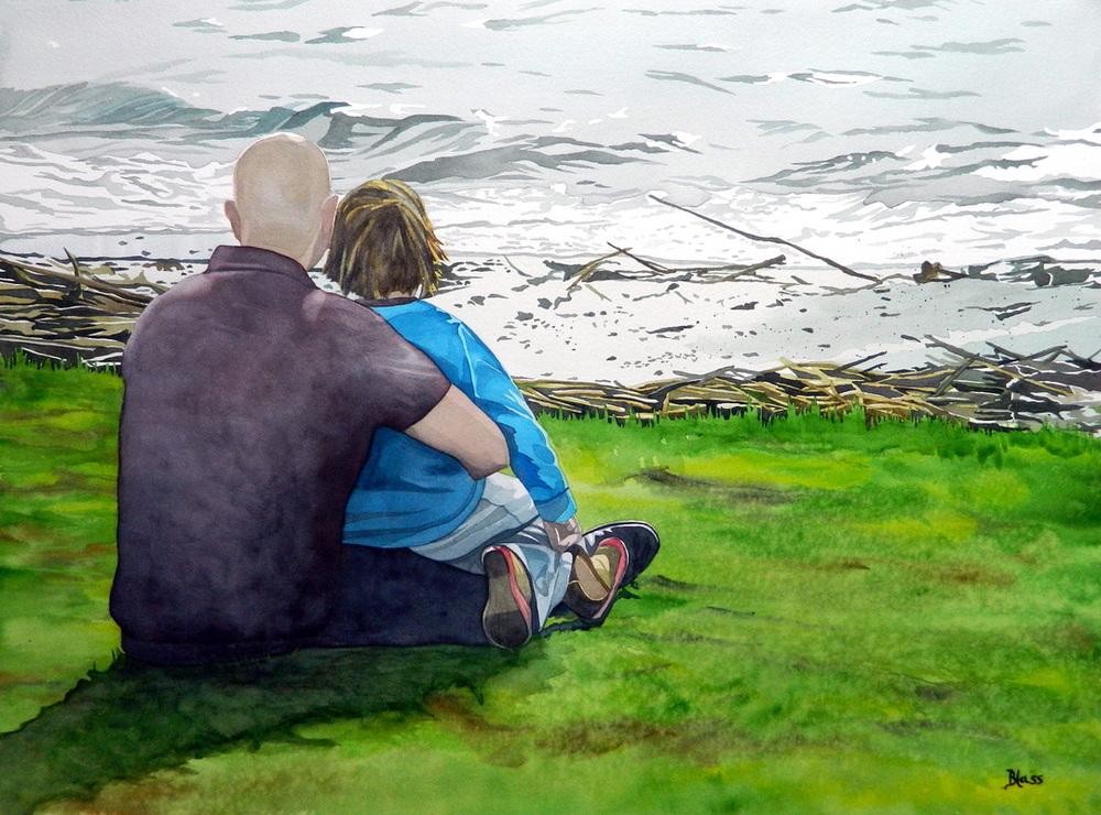 """Seasons: Kinneret Waves"", Watercolour on paper, 22x30"", $1600. unframed $1800. framed"