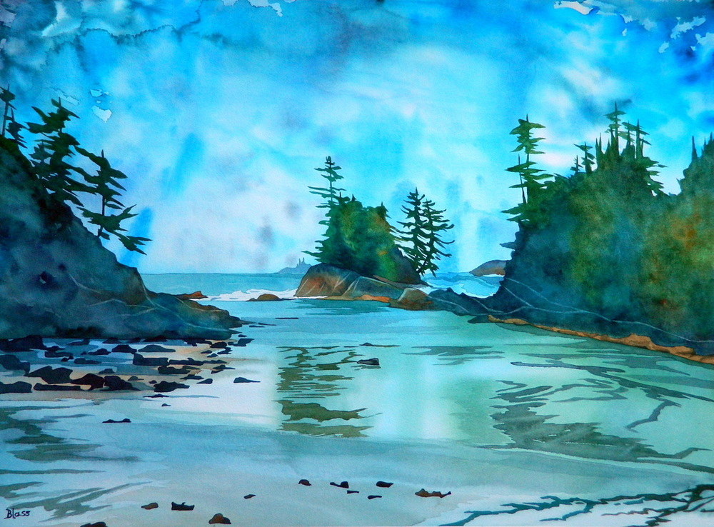 """Trails Through the Waters"", watercolour on paper, 22x30""  $1800. SOLD"