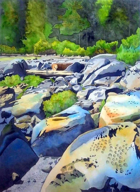 """Coastal Steps"", watercolour on paper, 30x22"", SOLD!"