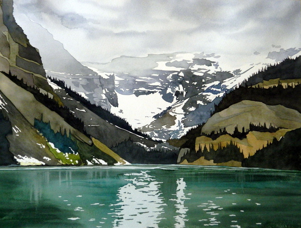 """Rainy Day, Lake Louise"", 22x30 inches, watercolour on paper. A cathartic painting... The lake offers peace in almost any climate... $1800. SOLD"