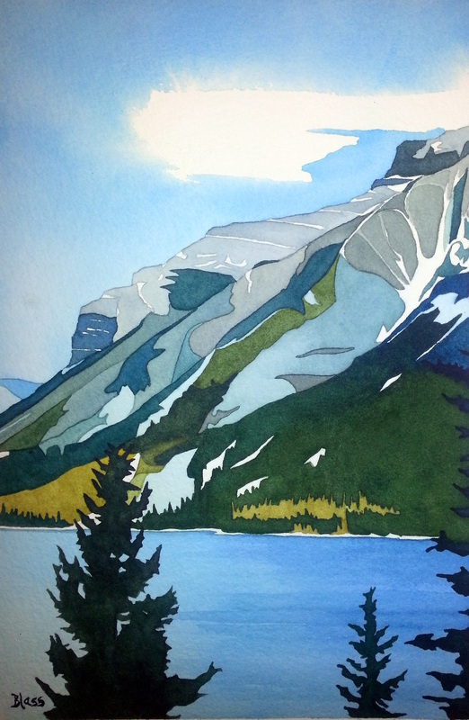 Majestic Mountain, watercolour on paper, 10.5 x 7 inches, $225. The majesty and strength of the mountains that I never tire of....