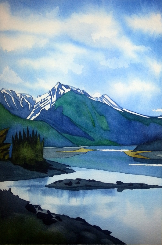 Medicine Lake, Jasper National Park, watercolour on paper, 10.5 x 7 inches. A spot to linger in... Waves of calm. (SOLD)