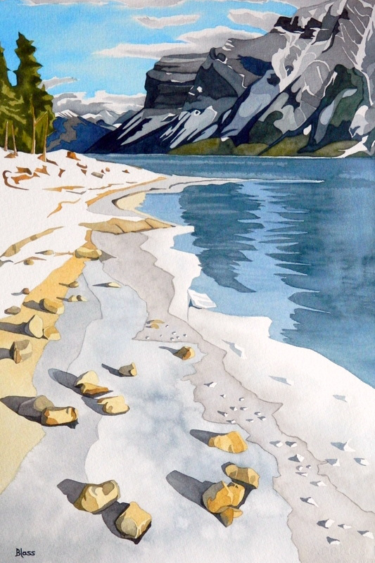 """Lake Minnewanka #3"", watercolour on paper, 21 x 14 inches, 53 x 36 cm. Many different ways I have painted this... it is an overwhelming and restful place. $1000. SOLD"
