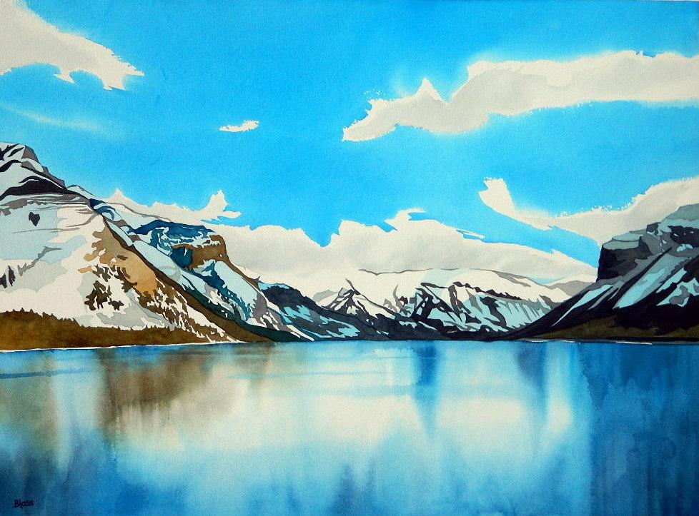 """""""Lake Minnewanka"""", watercolour on paper, 22x30"""", $1600. unframed $1800. framed"""