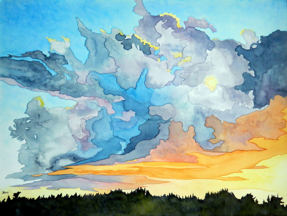Sun and Storm, watercolour on 100% rag board, 30 x 40 inches, 76 x 1000 cm. Sometimes the sky provides everything to nourish the soul... $2300